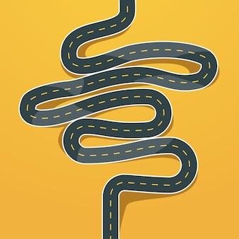 Uitzicht op de bochtige weg van bovenaf op geel
