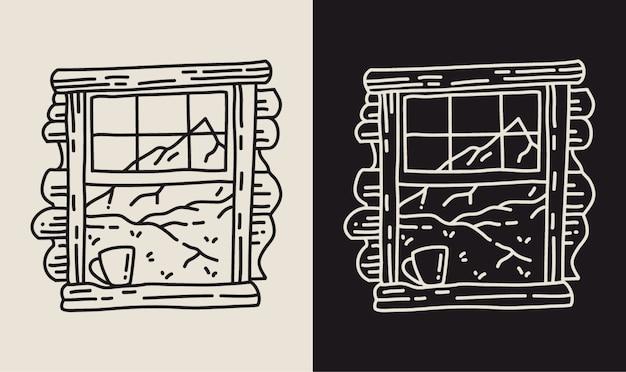 Uitzicht op de natuur in raam met koffie. monoline illustratie