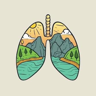 Uitzicht op de rivier met hartvorm monoline illustratie