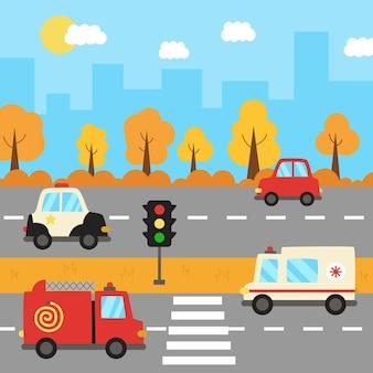 Uitzicht op de stad met vervoer in de herfst. stedelijk landschap met brandweerwagen en ambulanceauto.
