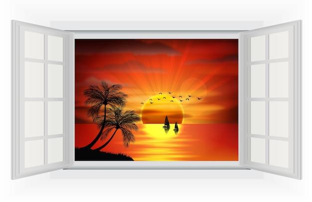 Uitzicht op de zonsondergang op het strand vanuit het raam