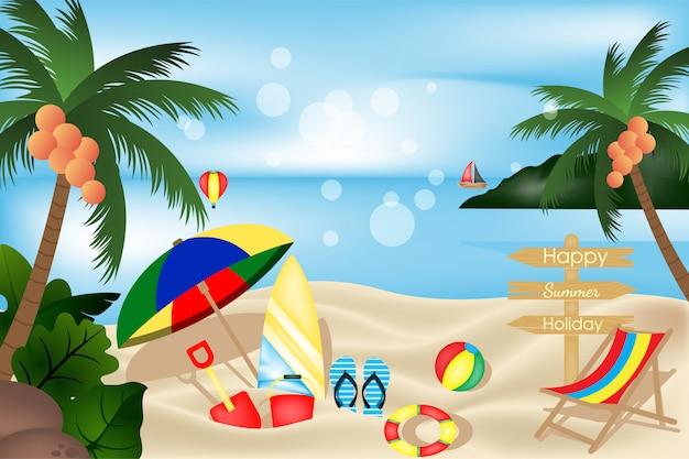 Uitzicht op het strand met element tol zomervakantie ontwerp