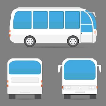 Uitzicht op witte bus