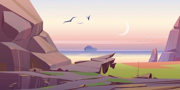 Uitzicht op zeegezicht met cruiseschip op ochtendzee