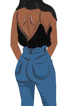 Uitzicht vanaf achterkant van een gebruinde brunette vrouw gekleed in spijkerbroek en zwarte blouse