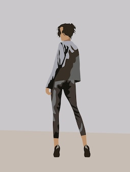 Uitzicht vanaf achterkant van een zwartharige vrouw gekleed in grijs pak en zwarte hoge hakken terugkijkend.
