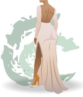 Uitzicht vanaf de achterkant van een geschikte vrouw gekleed in witte jurk en oranje hoge hakken groene abstracte slagen