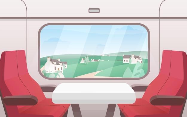 Uitzicht vanaf trein venster vlakke afbeelding. modern treinwagoninterieur met comfortabele rode stoelen en een kleine salontafel.