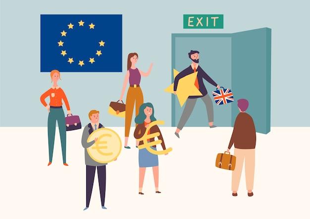 Uk exit europese unie, brexit-symboolconcept. man verlaat eu neemt ster