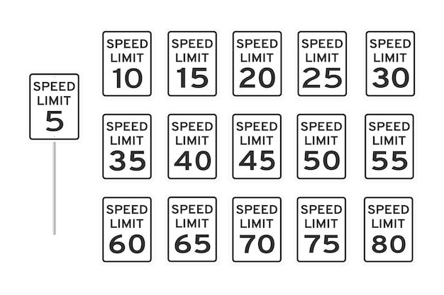 Uk snelheidslimiet wegverkeer pictogram borden instellen vlakke stijl ontwerp vectorillustratie