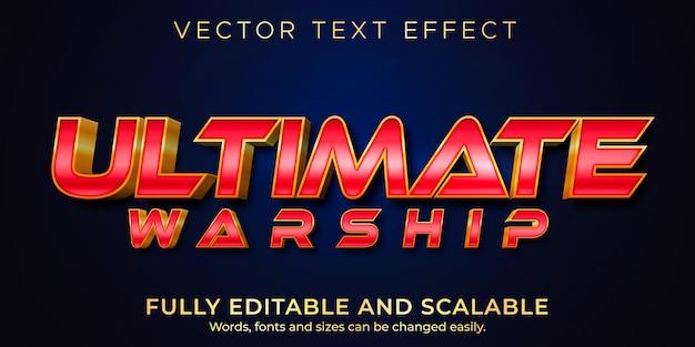 Ultiem oorlogsschip-teksteffect, bewerkbare tekststijl voor oorlog en held