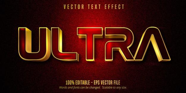Ultra-tekst, luxe gouden bewerkbaar teksteffect op rood en zwart canvas