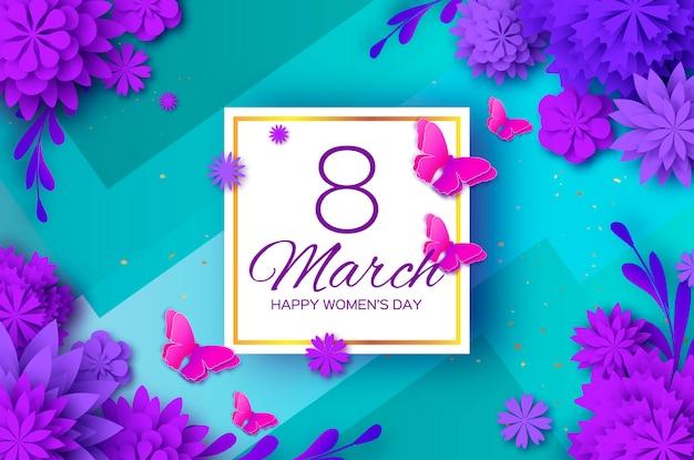Ultra violet papier snijbloem. 8 maart. vlinder. womens dag groeten kaart. origami bloemenboeket. vierkant frame. tekst.