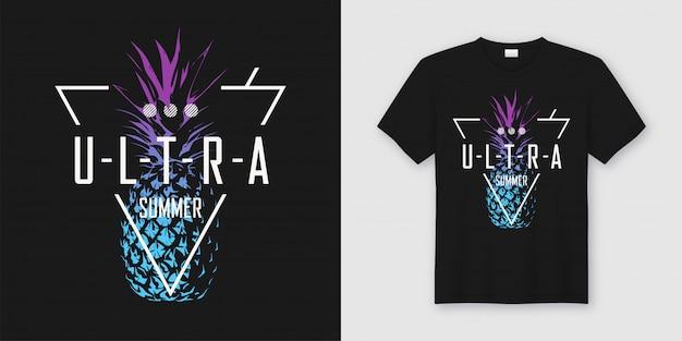 Ultra zomer, stijlvol t-shirt en moderne kleding met ananas in neon-stijl