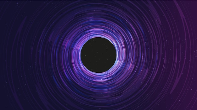 Ultraviolet spiraalvormig zwart gat op galaxy-achtergrond. conceptontwerp van planeet en natuurkunde.