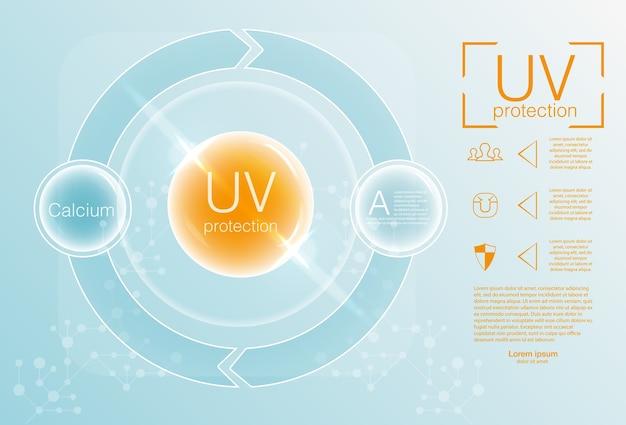 Ultraviolet sunblock pictogram. uv-bescherming pictogram. illustratie