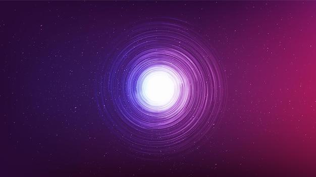Ultraviolet zwart gat op galaxy-achtergrond. conceptontwerp van de planeet en natuurkunde, vectorillustratie.