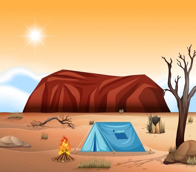 Uluru outback kampeerscene