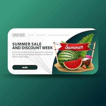 Ummer verkoop en kortingsweek, horizontale banner met modern ontwerp