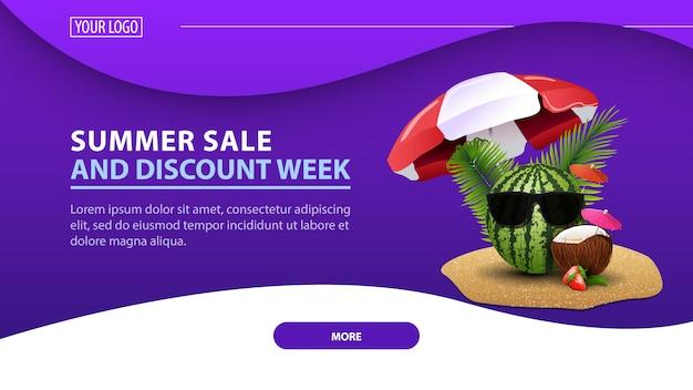 Ummer verkoop en kortingsweek, moderne horizontale korting webbanner voor uw website