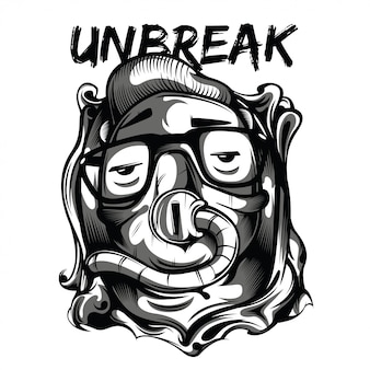Unbreak kid black and white illustratie
