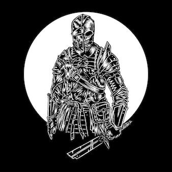 Undead knight, hand getrokken illustratie vector