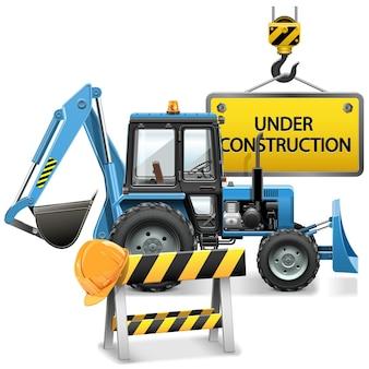 Under construction concept met tractor geïsoleerde illustratie