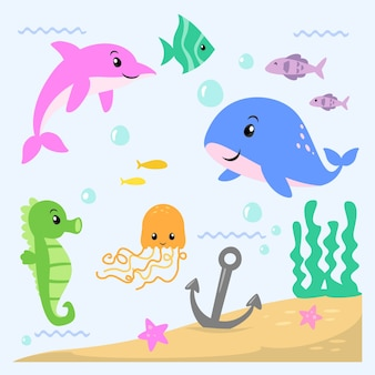 Under the sea cute animals