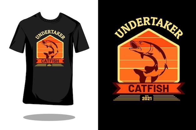 Undertaker meerval silhouet retro t-shirt ontwerp