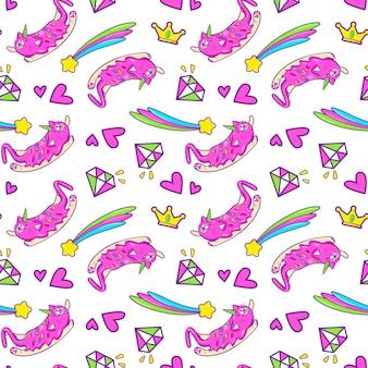 Unicorn cat seamless pattern