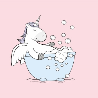 Unicorn doodle take a bath bubble cartoon
