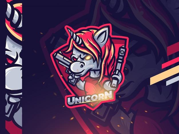Unicorn esport mascotte logo ontwerp