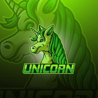 Unicorn esport mascotte logo