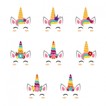 Unicorn faces collection