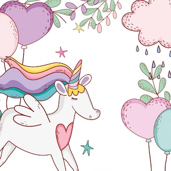 Unicorn fantasy tekening cartoon