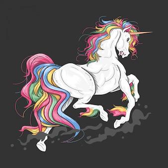 Unicorn full color jump vector