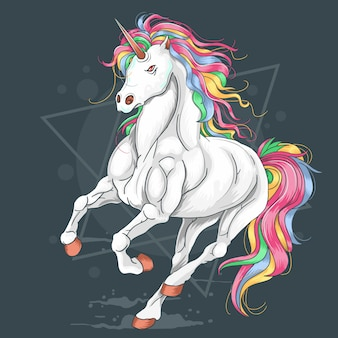 Unicorn full color rainbow run vector