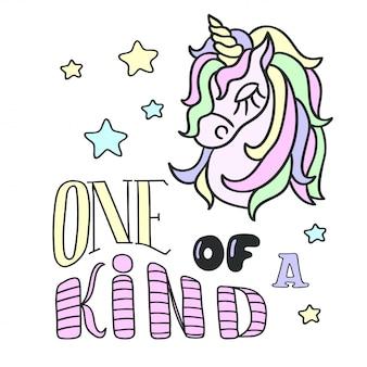 Unicorn hoofd en een van een soort belettering
