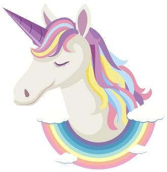 Unicorn hoofd met regenboog manen en hoorn geïsoleerd op een witte achtergrond