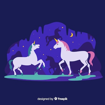 Unicorn illustratie in vlakke stijl