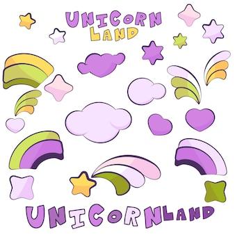 Unicorn land items met donkere contouren