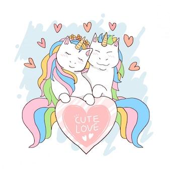 Unicorn liefde hart valentijnskaart