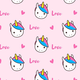Unicorn love pattern with hearts