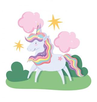 Unicorn magische fantasie cartoon regenboog haar hoorn wolken sterren landschap