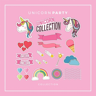 Unicorn party collectie-elementen