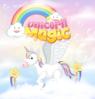 Unicorn pictogram op magische pastel achtergrond