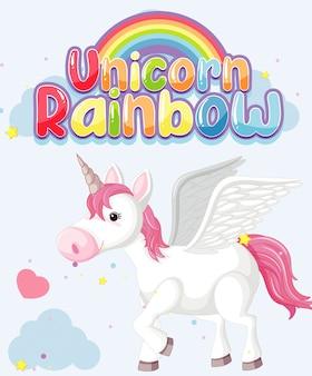 Unicorn regenboog logo op blauwe achtergrond