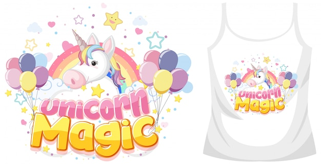 Unicorn shirt mock up op witte achtergrond