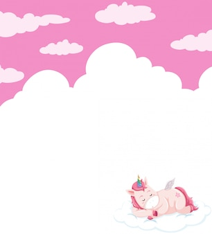 Unicorn sleeping on sky sjabloon