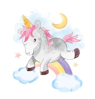 Unicorn springt over regenboog illustratie
